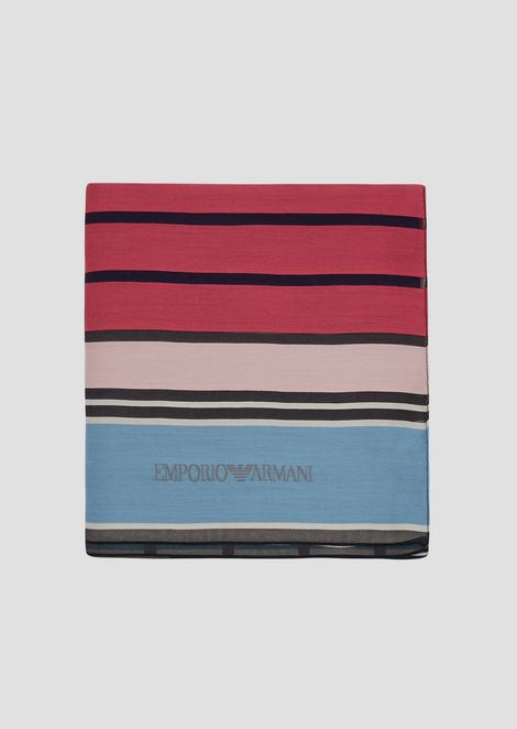 Stole in colored, striped viscose and silk