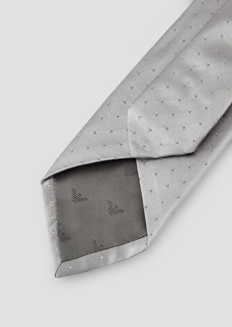 Pure silk tie with polka-dot jacquard motif