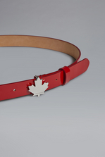 DSQUARED2 Red & Black Punk Leaf Plaque Belt Belt Woman