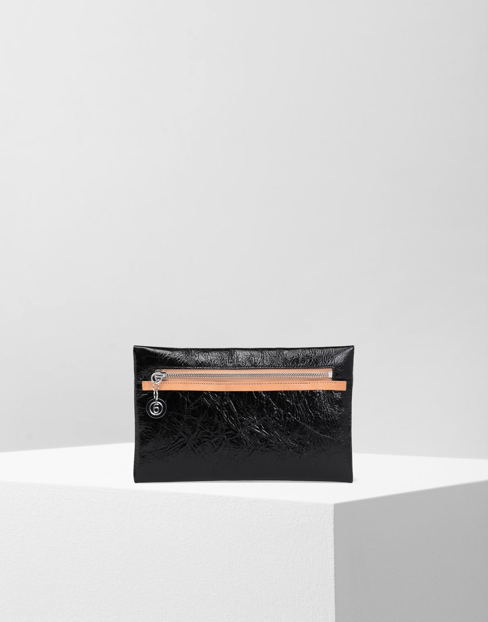 MM6 MAISON MARGIELA Crinkled leather zip pouch Wallets Woman f