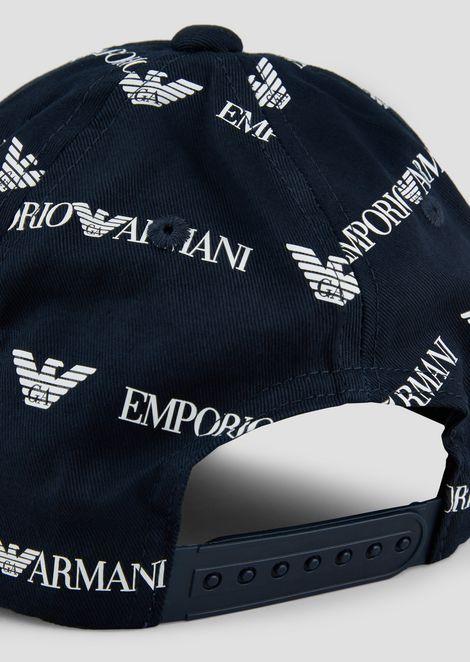 Cappello da baseball con logo Emporio Armani allover