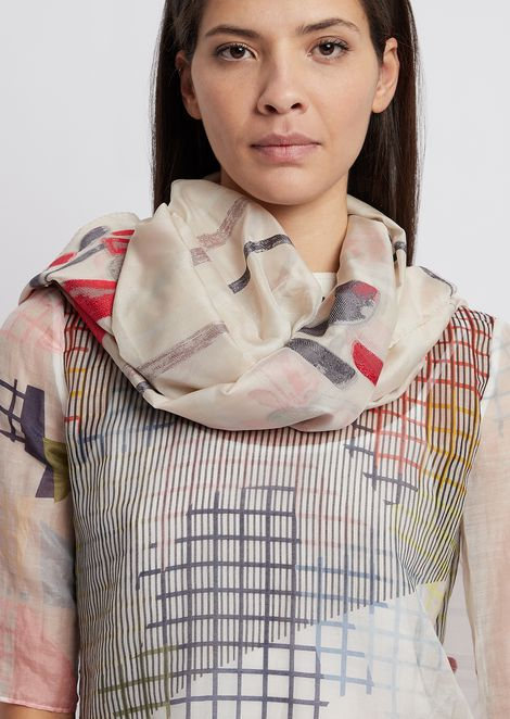 Scarf with stripes and embroidered floral motif