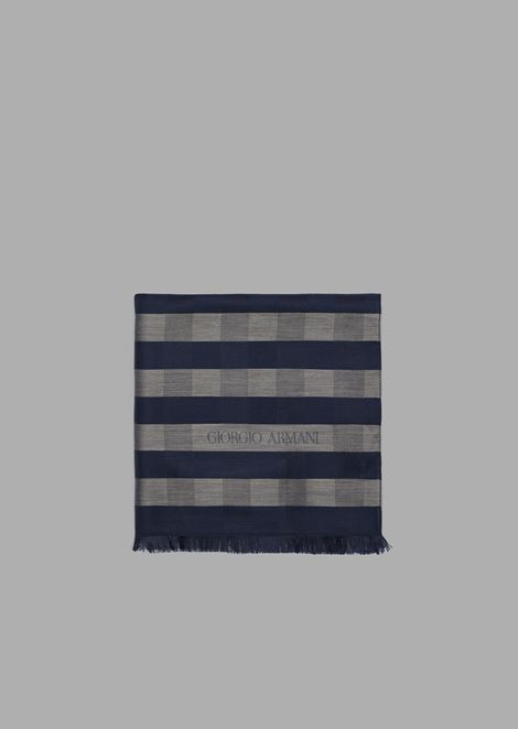 Colored, striped silk and viscose stole