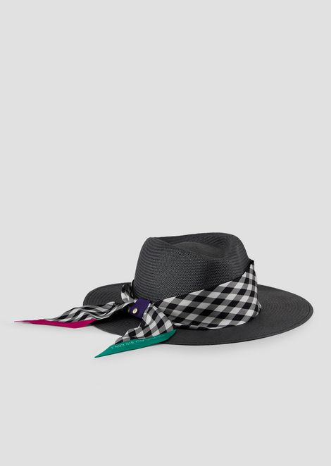 Wide-brimmed hat with checked headscarf in silk