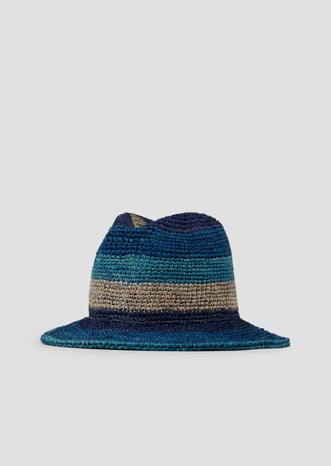 Wide-brimmed hat in raffia in graduated colours