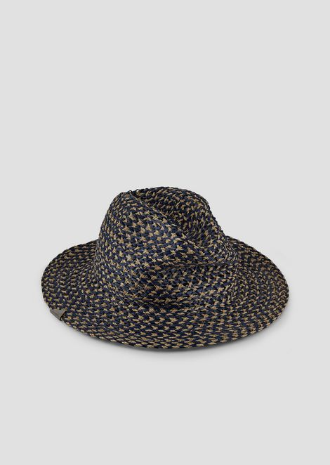 Woven, wide-brimmed hat with triangular details