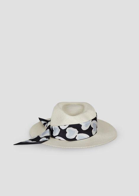 饰心形图案真丝头巾宽边帽子