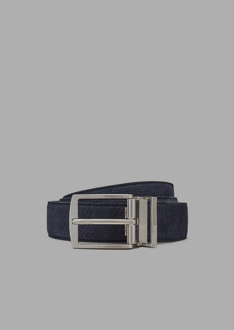 Suede belt with maxi-chevron print