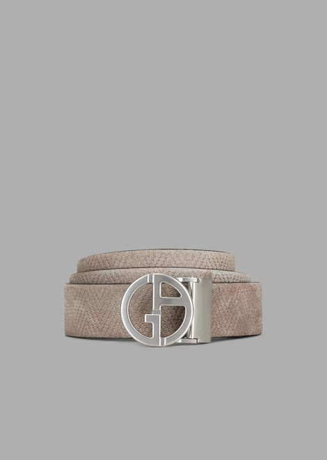 Cintura in pelle scamosciata con stampa maxi-chevron e logo GA