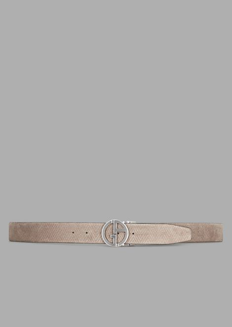 Suede belt with maxi-chevron print and GA logo