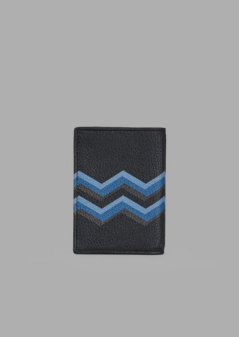 Business card holder in leather with coloured chevron print