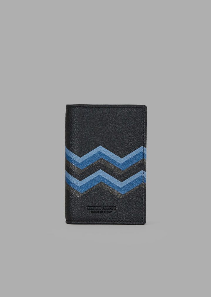 123c18ef2d Business card holder in leather with colored chevron print