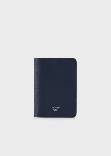 Porta passaporto in pelle stampata palmellata