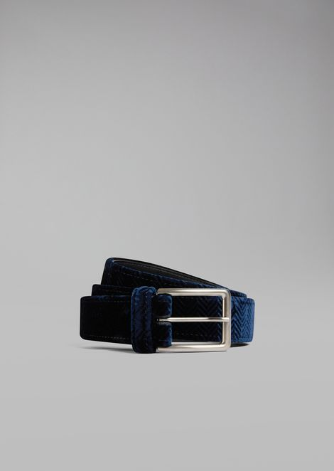 Belt in chevron-print velvet
