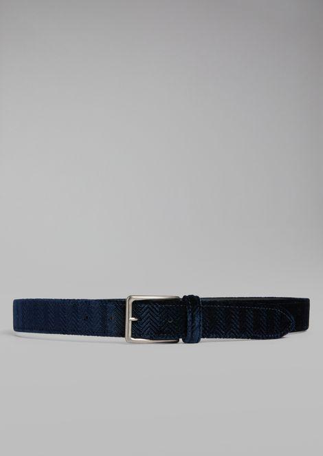Belt in chevron-print velvet