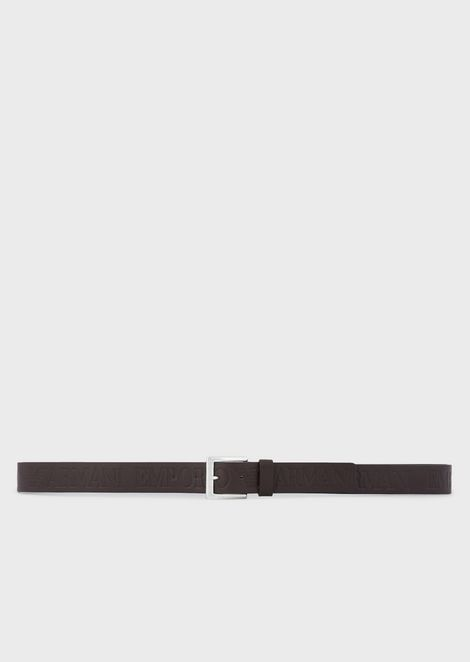 Textured leather belt with logo