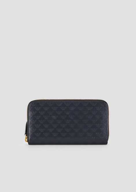 Zip-around wallet in all-over printed leather
