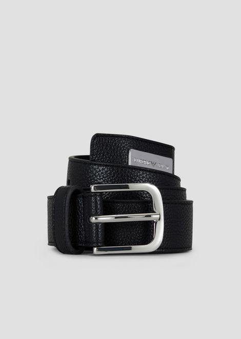 Deer-print belt with logoed tag