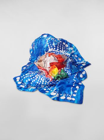 Marni Blue silk scarf with Estia print Woman