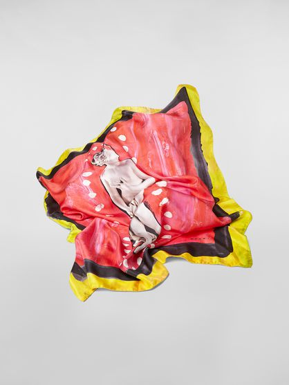 91697f4d98b Red Silk Scarf In Estia Print from the Marni Fall/Winter 2019 ...