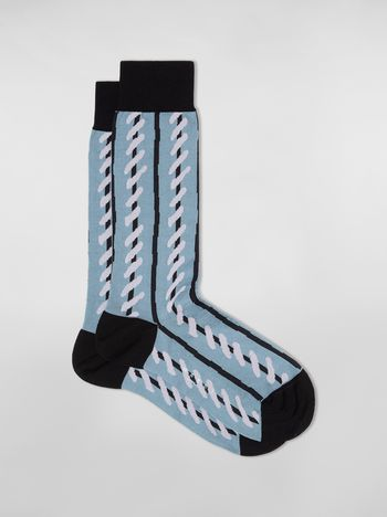 Marni Pale blue socks in striped cotton and polyamide Woman