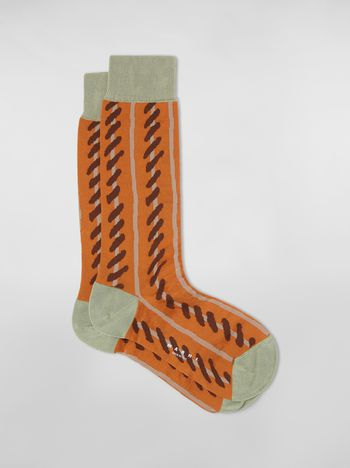 Marni Orange socks in striped cotton and polyamide Woman