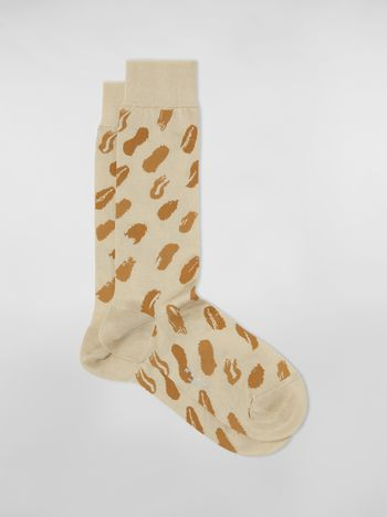 Marni Gold socks in cotton and polyamide with brush stroke motif  Woman