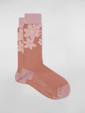 Marni Pink socks in cotton and polyamide with brush strokes and floral motif Woman