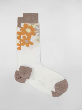 Marni White and beige socks in cotton and polyamide with brush strokes and floral motif Woman