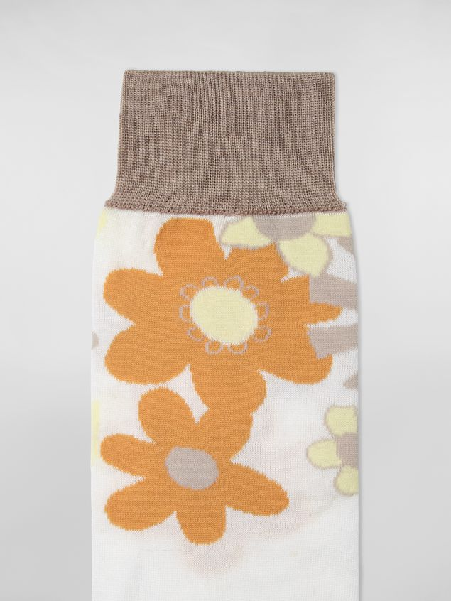 Marni - Sock in cotton and polyamide brush with floral motif white and beige - 3