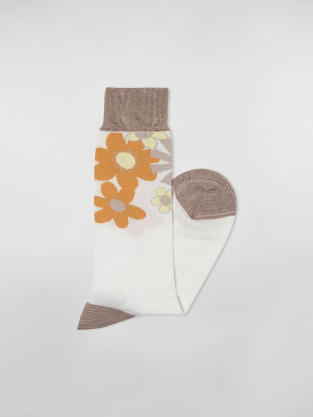 Marni - Sock in cotton and polyamide brush with floral motif white and beige - 2