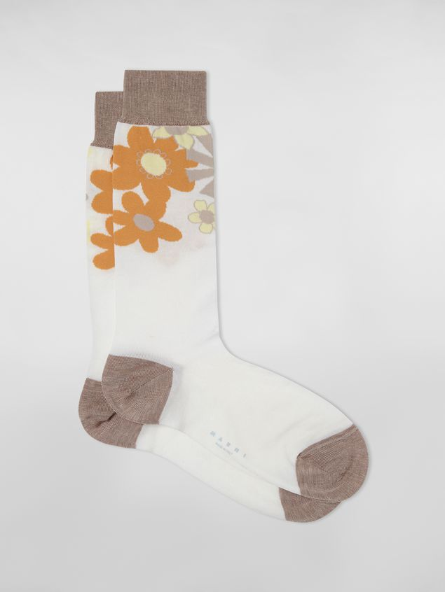 Marni - Sock in cotton and polyamide brush with floral motif white and beige - 1