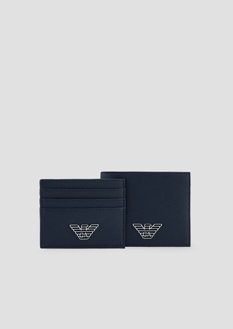 Gift box composed of wallet and cardholder in PVC with metallic logo