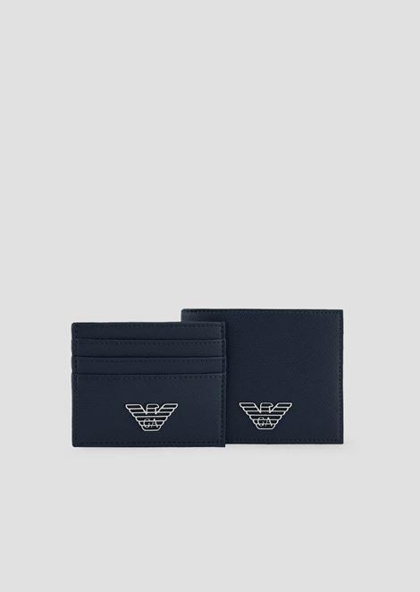 Caja regalo compuesta por cartera y llavero en PVC con logotipo metálico