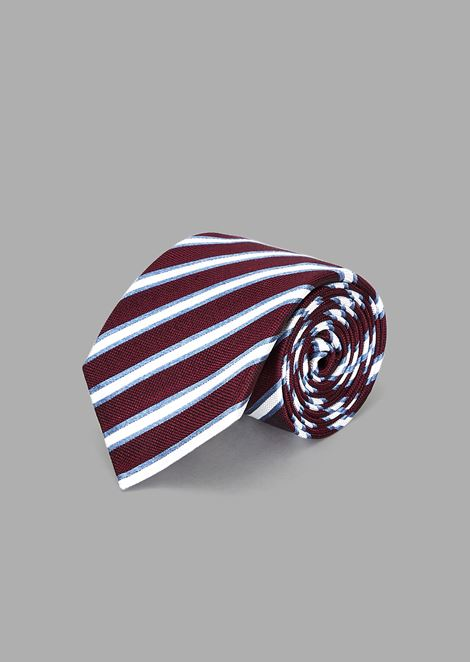 Silk and cotton tie with regimental jacquard pattern