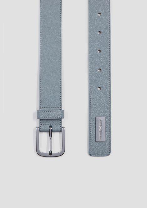 Deer-print belt with logo tag