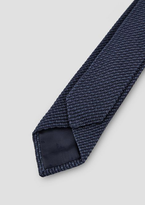 Cotton and silk tie with jacquard motif