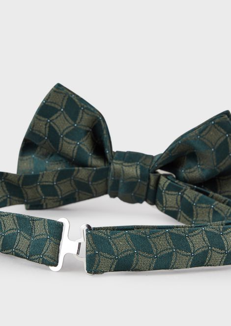 Bow tie in pure silk with two-tone pattern