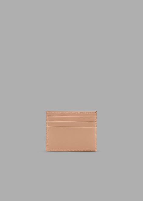 Card holder in quilted nappa leather with enameled logo
