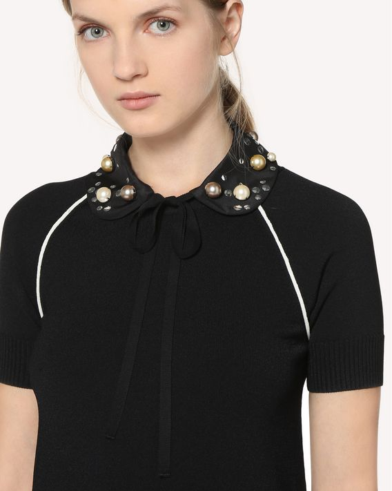 REDValentino Crepe de chine collar with pearl embroidery