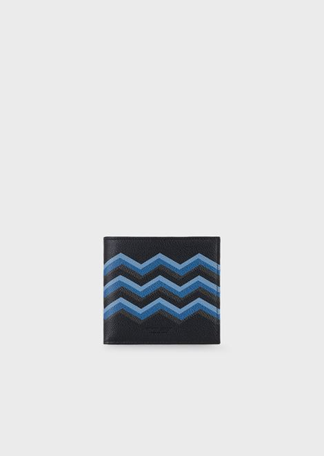 Grained leather wallet with colored chevron print