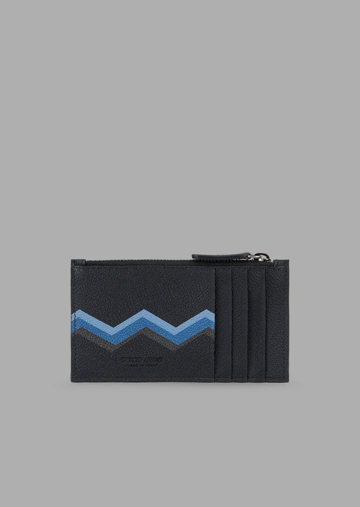 486c17e526 Card holder in grained leather with zipper and colored chevron print