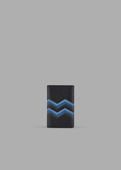 Key case in leather with colored chevron print