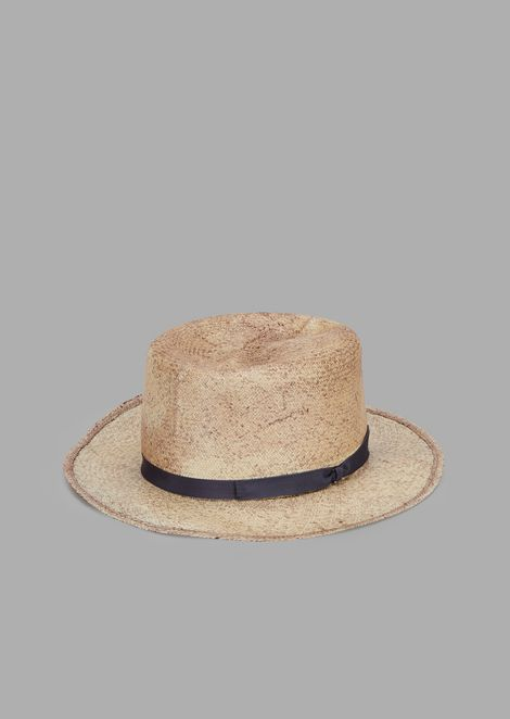 Woven straw fedora hat with ribbon