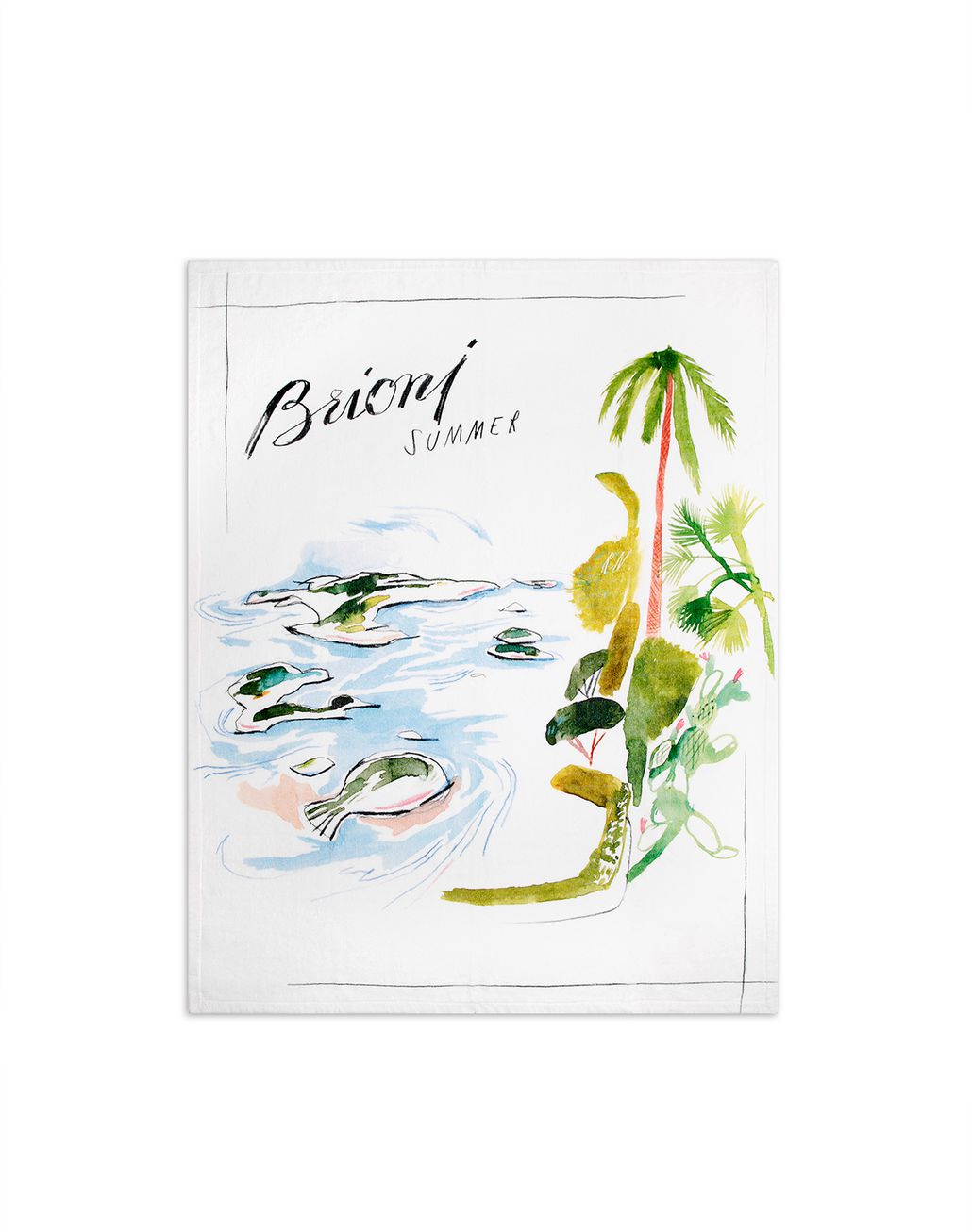 BRIONI White Printed Swim Towel Beach Towel Man f