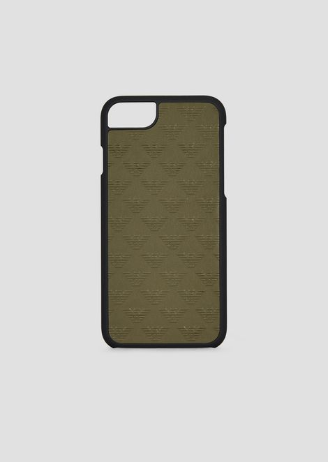 iPhone 6, 7, 8 cover in leather printed with all-over monogram