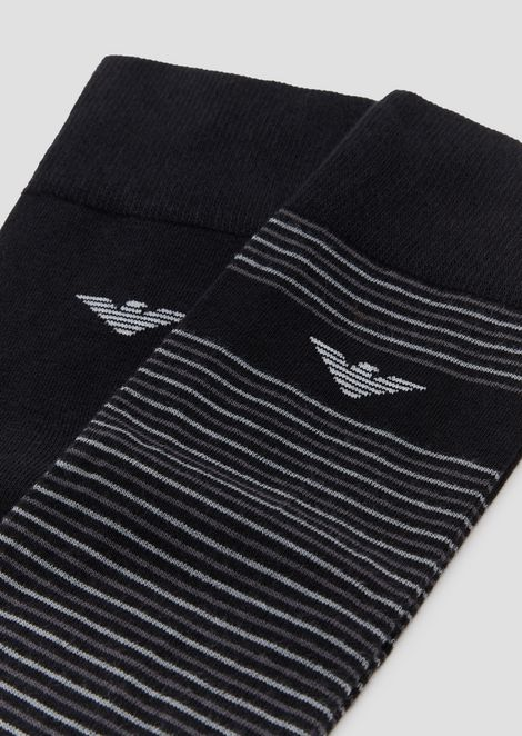 Paquete de 2 calcetines de color liso y monograma integral