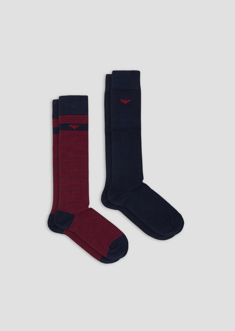 Set of 2 solid-color socks and all-over monogram
