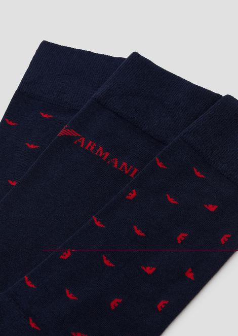 Set of 3 patterned socks with logo details