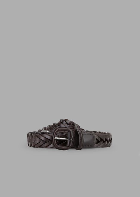 Double-wrap belt in braided leather